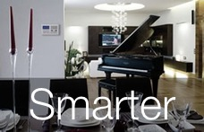 Smart Home living room with piano and DFP